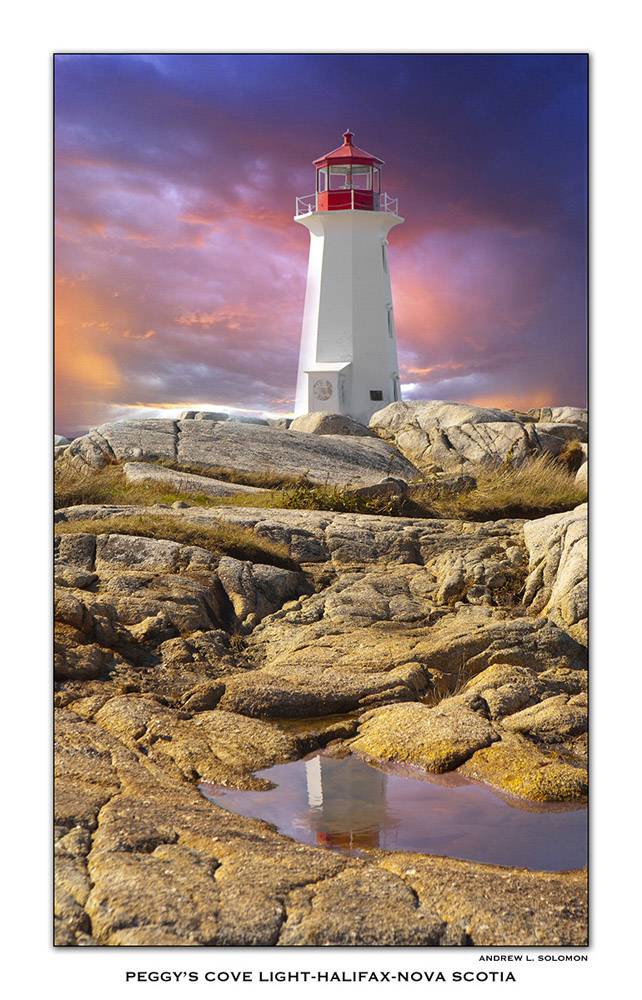 PEGGY'S COVE LIGHT SUNSET